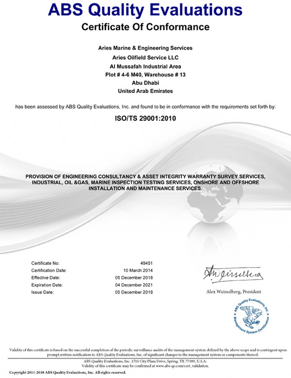 Marine certificates & Approvals of Arise Marine | ISO | DVN | RINA | DAC