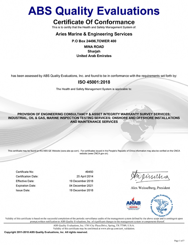 Marine certificates & Approvals of Arise Marine | ISO | DVN